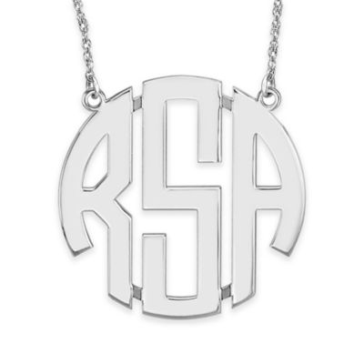 Alison & Ivy® Sterling Silver 40mm Block Letter Pendant Necklace