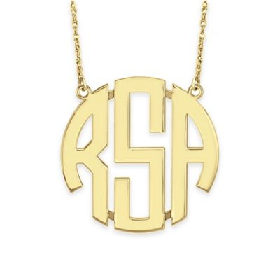 Alison & Ivy® 24K Gold-Plated Sterling Silver 40mm Block Letter Pendant Necklace