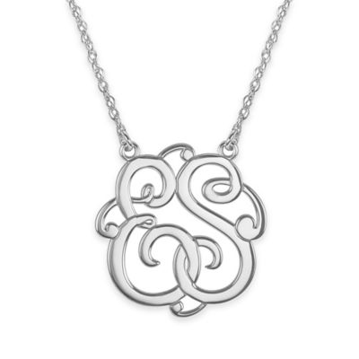 Alison & Ivy® Sterling Silver 25mm 2-Initial Script Letter Pendant Necklace