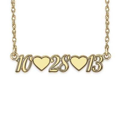 Alison & Ivy® 24K Yellow Gold-Plated Sterling Silver 18-Inch Heart Date Necklace Pendant
