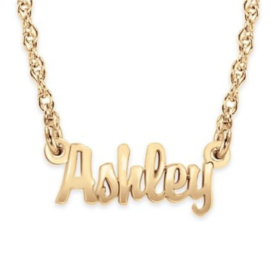 Alison & Ivy® 24K Yellow Gold-Plated Sterling Silver 18-Inch Chain Mini Nameplate Necklace