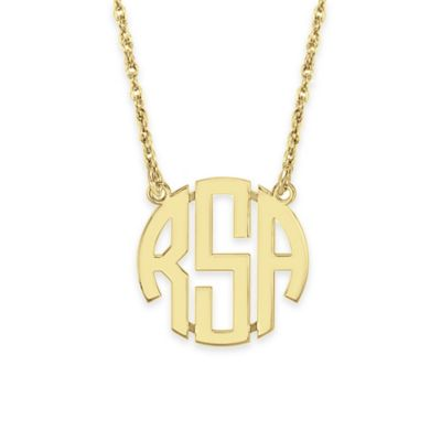 Yellow Gold-Plated Sterling Silver 18-Inch Chain 20mm Block Letter Pendant Necklace