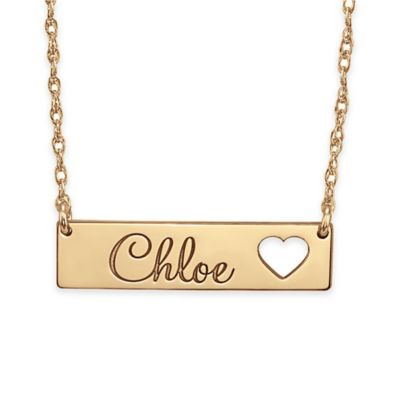 Alison & Ivy™ 24K Rose Gold-Plated Sterling Silver Cutout Heart Bar Name Necklace