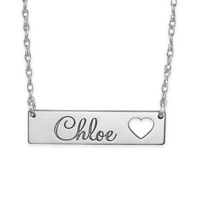Alison & Ivy™ Sterling Silver18-Inch Chain Cutout Heart Bar Name Necklace