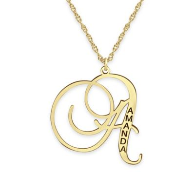 Alison & Ivy® 24K Yellow Gold-Plated Sterling Silver18-Inch Initial Letter Pendant Necklace