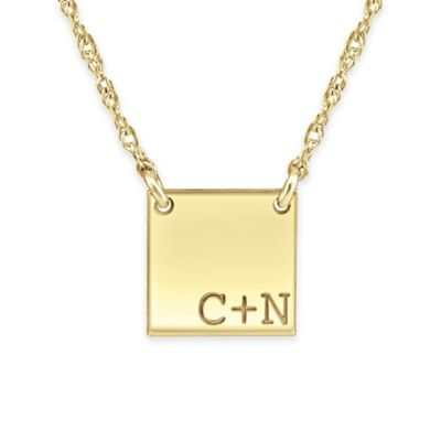 Alison & Ivy® 24K Yellow Gold-Plated Sterling Silver 18-Inch Couples Tile Pendant Necklace