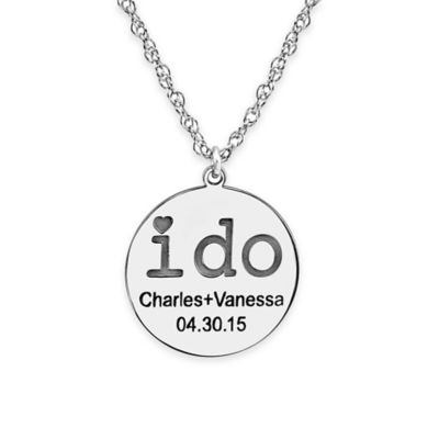 "Alison & Ivy® 10K White Gold 18-Inch ""I Do"" Couples Engraved Pendant Necklace"