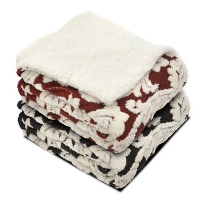 Floral Jacquard Reversible Faux Sherpa Throw Blanket in Red