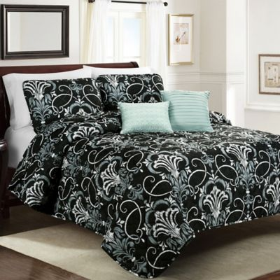 Olena Full/Queen Quilt Set in Charcoal