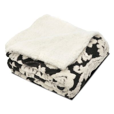 Floral Jacquard Reversible Faux Sherpa Throw Blanket in Black