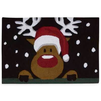 Nourison™ Handhook Holiday 1-Foot 8-Inch x 2-Foot 6-Inch Reindeer Face Rug in Black