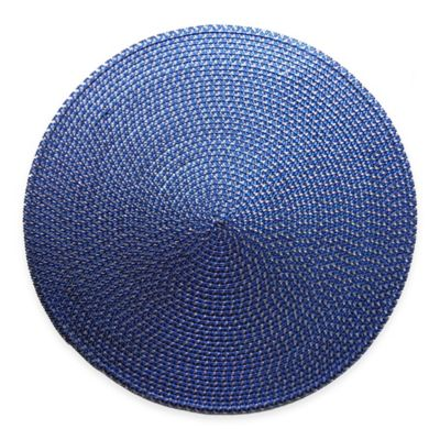 Shiny Round Placemat in Blue