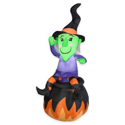 Inflatable 24-Inch Witch On Cauldron