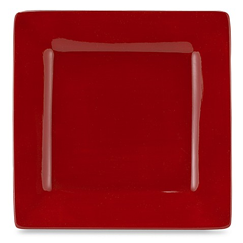 tabletops unlimited misto square dinner plate in red