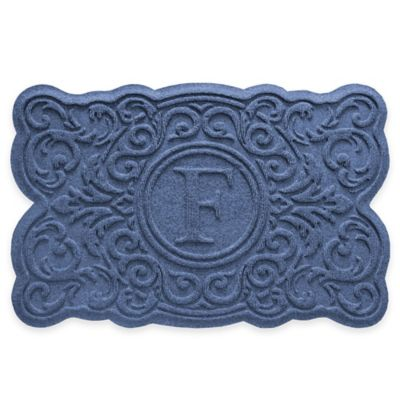 Monogrammed Navy Door Mat