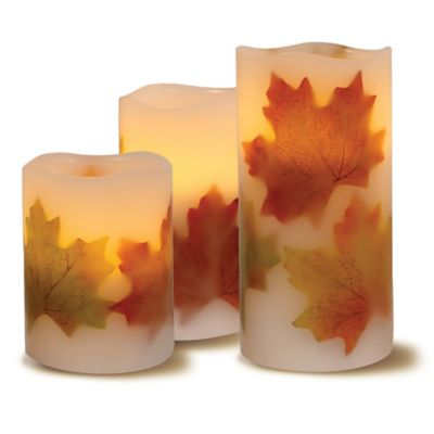 Loft Living 3-Piece Flameless LED Harvest Pillar Candle Set
