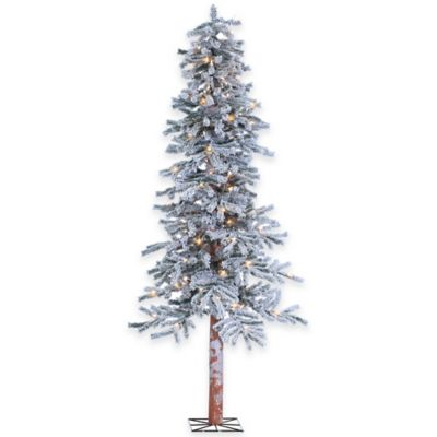 National Tree 6-Foot Flocked Alpine Tree Pre-Lit with 150 Clear Lights