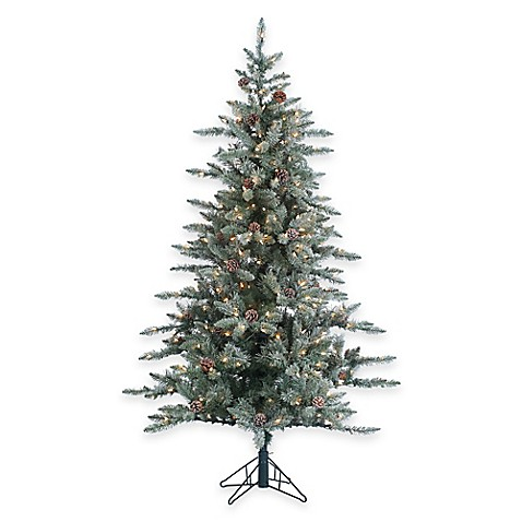 inch lightly flocked mckinley pine tree pre lit with 350 clear lights. Black Bedroom Furniture Sets. Home Design Ideas
