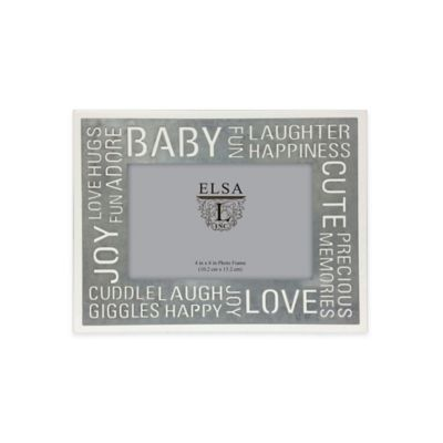 Elsa L. 4-Inch x 6-Inch Baby Sentiment Frame in Ivory/Silver