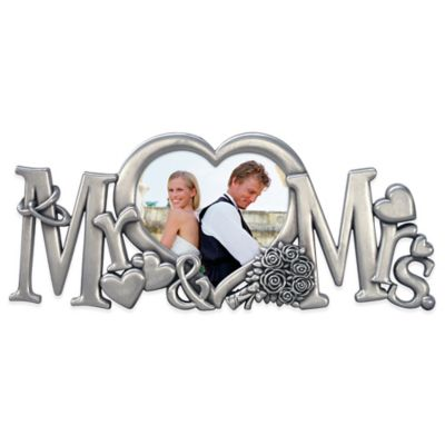 "Malden® 2-Inch x 3-Inch ""Mr. & Mrs."" Sculpted Metal Photo Frame in Silver"