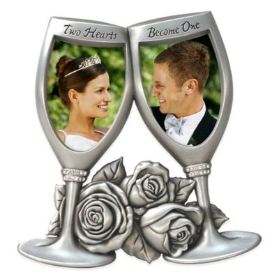 "Malden® 2-Photo 2-Inch x 3-Inch ""Two Hearts Become One"" Champagne Glasses Frame in Silver"