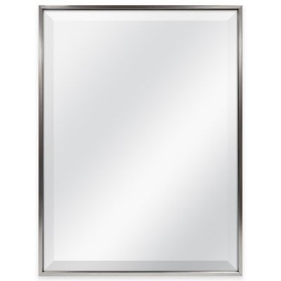 Slim Border 24-Inch x 18-Inch Rectangular Mirror in Pewter