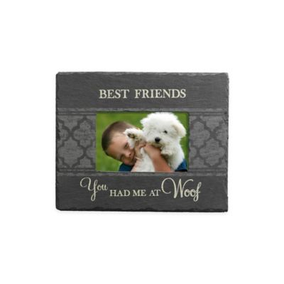 "Grassland Roads 4-Inch x 6-Inch ""Best Friends"" Woof Slate Frame in Black"