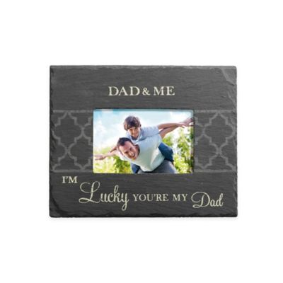 "Grasslands Road® 4-Inch x 6-Inch ""Dad & Me"" Slate Frame in Black"