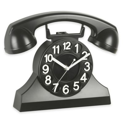 Cupecoy Design Phone Wall Clock in Black