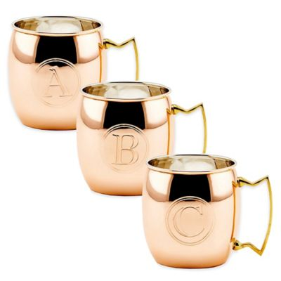 "Old Dutch International Solid Copper Monogram Block Letter ""P"" Moscow Mule Mugs (Set of 4)"