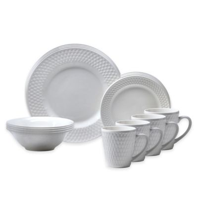 Oneida® Satin Weave 16-Piece Dinnerware Set in White
