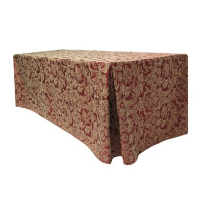 Miranda Damask 30-Inch x 96-Inch Oblong Fitted Tablecloth in Bordeaux