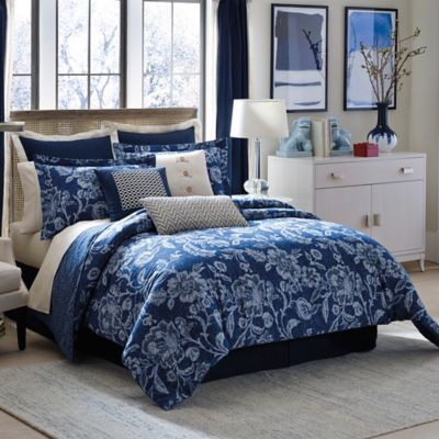 Inspired by Kravet Aida Queen Comforter Set in Indigo
