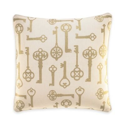 Inspired by Kravet Lions Gate Square Throw Pillow in Gold