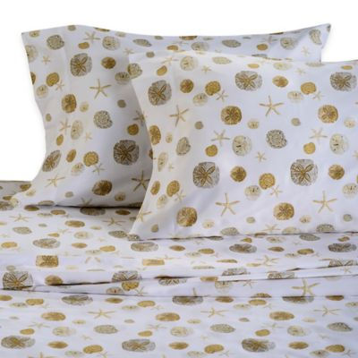 Panama Jack® 300-Thread-Count Sand Dollar Printed Twin Sheet Set in Sand