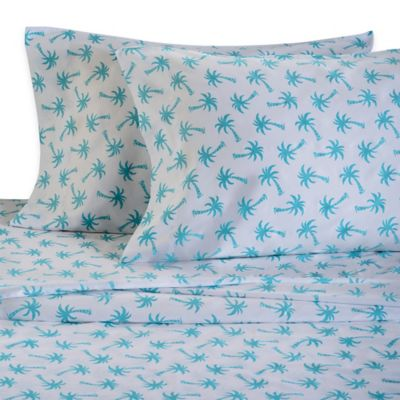 Panama Jack® 300-Thread-Count Palm Tree Twin Sheet Set in Aqua