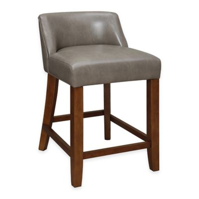 Linon Home Landon Low-Back Bar Stool in Pebble
