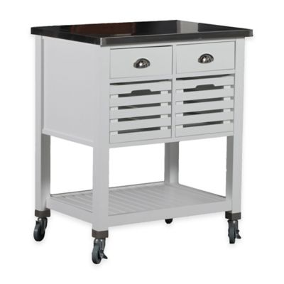 Linon Home Robbin Wood Kitchen Cart in White