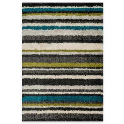 Loloi Rugs Cosma Stripes 7-Foot 7-Inch x 10-Foot 5-Inch Shag Rug in Green/Multi