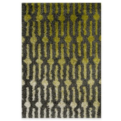 Loloi Rugs Cosma Gradient 3-Foot 9-Inch x 5-Foot 6-Inch Shag Rug in Green/Grey
