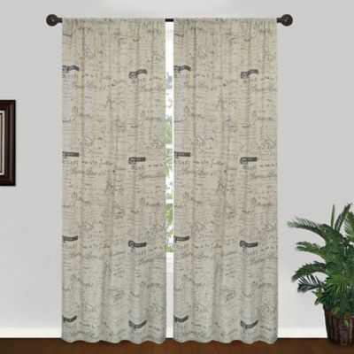 Park B. Smith Script 84-Inch Window Curtain Panel in Linen/Black