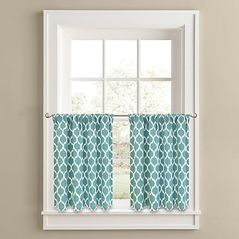 Buy Morocco 36 Inch Window Curtain Tier Panel Pair In Aqua From Bed Bath Beyond