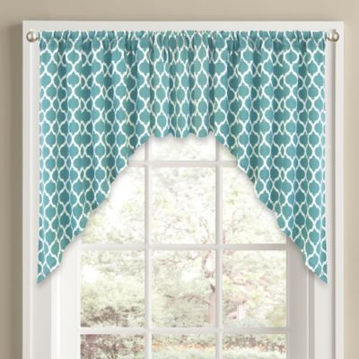 Morocco Window Curtain Swag Valance in Aqua