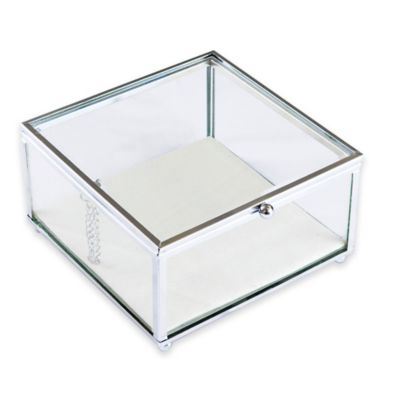 Decorative Glass Jewelry box in Silver
