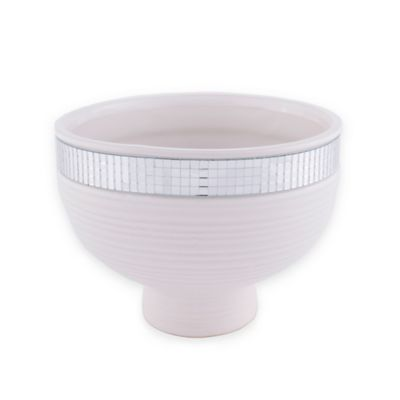 6-Inch Glazed Ceramic Mirror Bowl in White