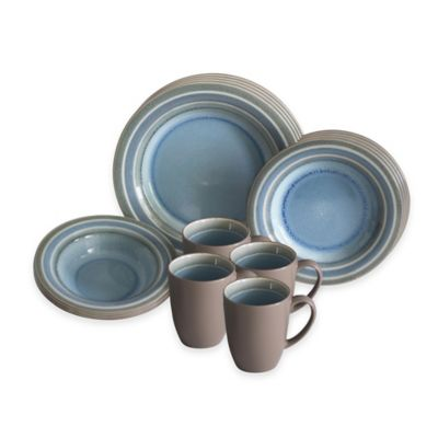 Baum Color Stack 16-Piece Dinnerware Set in Blue