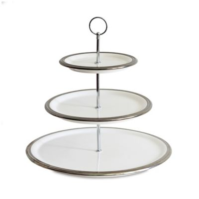 Baum 3-Tier Ceramic Server in White/Silver