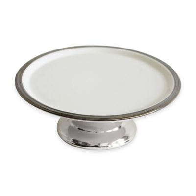 Baum Ceramic Cake Stand in White/Silver