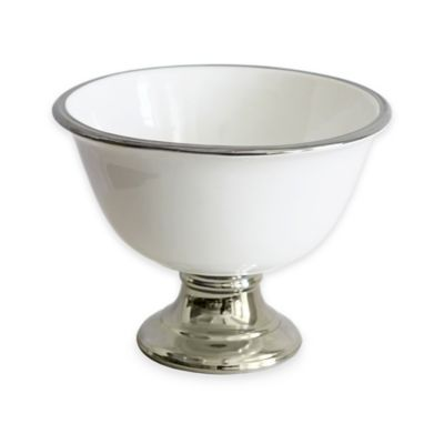 Baum 15-Inch Ceramic Footed Serving Bowl in White/Silver