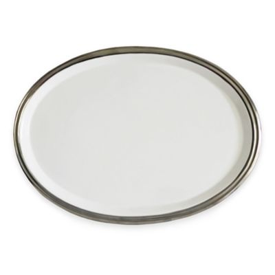 Baum 10-Inch Oval Ceramic Platter in White/Silver